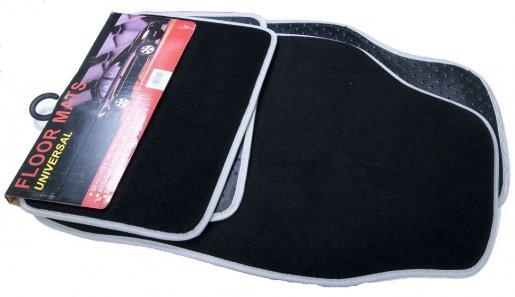 Autószőnyeg textil fekete szürke szegéllyel króm betéttel