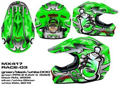 Bukósisak Mx-419 - Zöld Fekete Fehér (S)