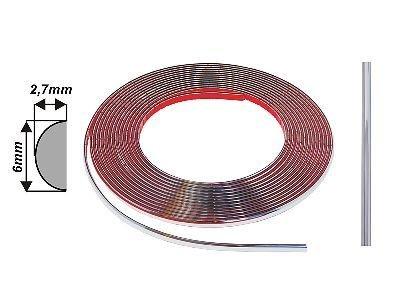 Díszcsík univerzális - króm 6 mm