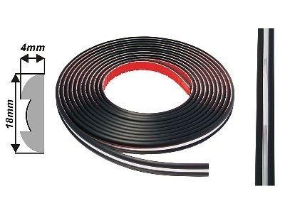 Díszcsík univerzális - króm fekete 18 mm