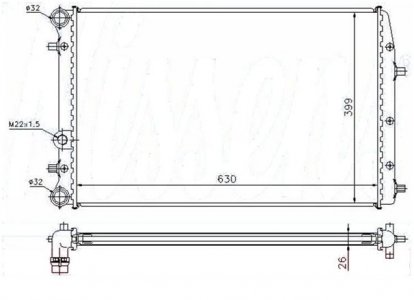 FABIA HŰTŐ 1.4I 16V 2.0I-1.9TD (NISSENS 65271A (632X415X23) VALEO 732864, FABIA 00)