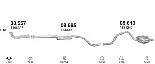 Ford hátsó kipufogó alumínium b750-019 (mondeo 2.0 tdci kombi 01-07)