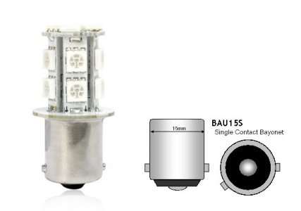 IZZÓ LED 12V S25 BAU15S SÁRGA 13 SMD LED 2DB
