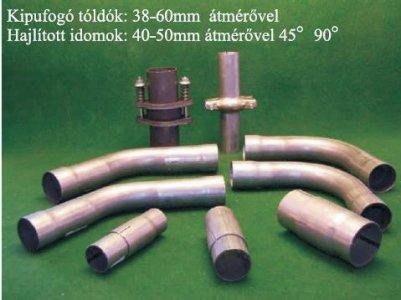 Kipufogó toldócső hajlított 60 mm 45 fok