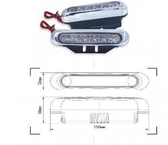 LED lámpa (nappali fény) 12V fehér (12 LED)