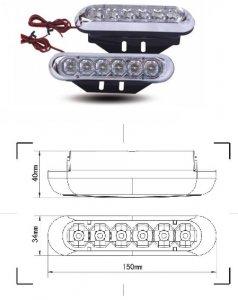 LED lámpa (nappali fény) 12V fehér (6 LED)