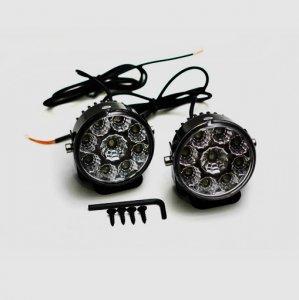 LED lámpa (nappali fény) 12V fehér (9 LED) kerek