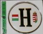 Matrica - H betű műgyantás fehér (magyar zászló/címer)