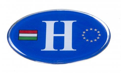 Matrica - H betű műgyantás kék (eu/magyar zászló)