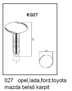 PATENT K027 OPEL,LA,FORD,TOY,MAZDA BELSŐ KÁRPIT