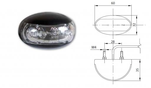 Szélességjelző 12v/24v felköríves alakú fehér 2 LED sík hátoldal 60 mm x 32 mm