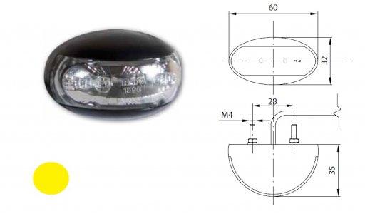 Szélességjelző 12v/24v felköríves alakú sárga 2 LED sík hátoldal 60 mm x 32 mm