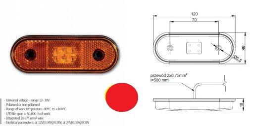 Szélességjelző 12v/24v kerekített  alakú piros 4 LED sík hátoldal 120 mm x 46 mm