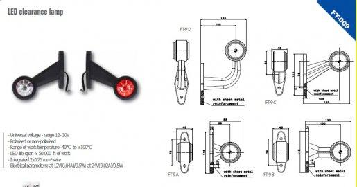 Szélességjelző 12v/24v LED piros/fehér 90 fokos hosszú egyenes 130 mm kinyúlás
