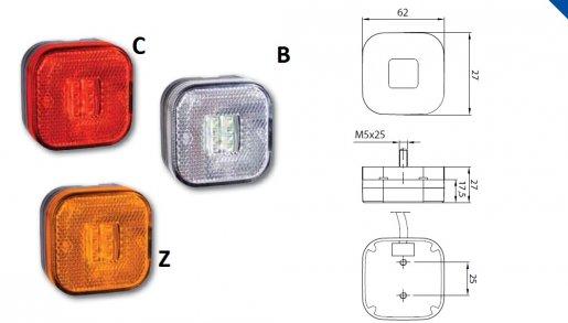 Szélességjelző 12v/24v man kocka alakú sárga 4 LED sík hátoldal 62 mm x 62  mm