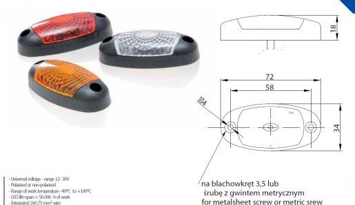 Szélességjelző 12v/24v ovális alakú fehér 3 LED sík hátoldal 72 mm x 34 mm