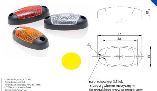 Szélességjelző 12v/24v ovális alakú sárga 3 LED sík hátoldal 72 mm x 34 mm