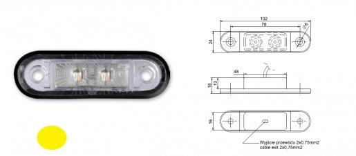 Szélességjelző 12v/24v süllyesztett kerekített alakú sárga 2 LED 102 mm x 24 mm