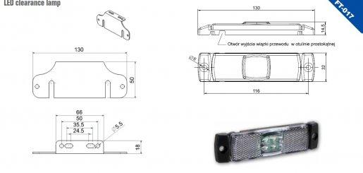Szélességjelző 12v/24v téglalap  alakú fehér középen 4 LED sík hátoldal 130 mm x 32 mm