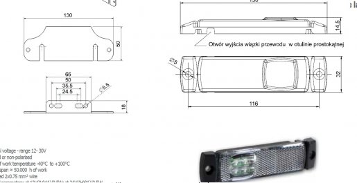 Szélességjelző 12v/24v téglalap  alakú fehér szélén 4 LED sík hátoldal 130 mm x 32 mm