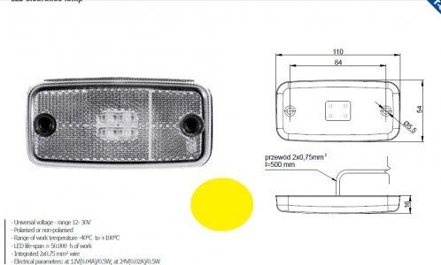 Szélességjelző 12v/24v téglalap  alakú sárga 4 LED sík hátoldal 110 mm x 54 mm