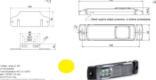 Szélességjelző 12v/24v téglalap  alakú sárga szélén 4 LED sík hátoldal 130 mm x 32 mm