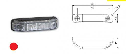 Szélességjelző 12v/24v téglalap-kiemelkedő piros 2 LED kábellel