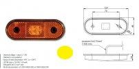 Szélességjelző 12v/24v kerekített  alakú sárga 4 LED sík hátoldal 120 mm x 46 mm
