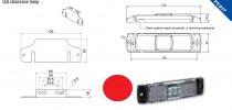 Szélességjelző 12v/24v téglalap  alakú piros középen 4 LED sík hátoldal 130 mm x 32 mm