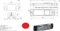 Szélességjelző 12v/24v téglalap  alakú piros szélén 4 LED sík hátoldal 130 mm x 32 mm