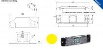 Szélességjelző 12v/24v téglalap  alakú sárga középen 4 LED sík hátoldal 130 mm x 32 mm